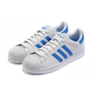 adidas superstar homme blanc bleu